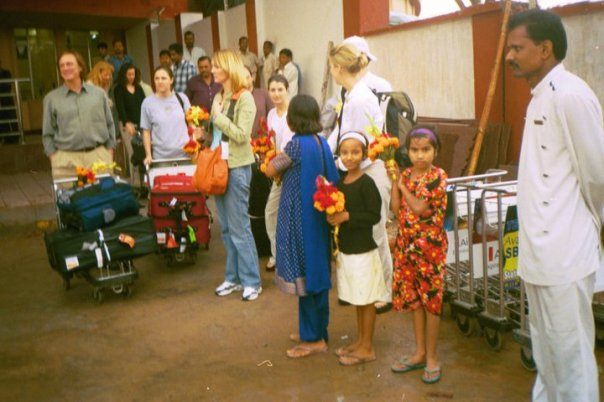 Arriving in India for the first time, March 2005. Pinky and Meena greeted us.