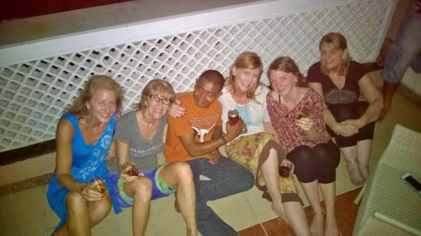 Hanging out with friends and family at our hotel after a day at the children's home