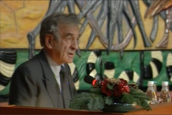 Elie Wiesel accepting his Nobel Peace Prize. Click the photo to watch a video of his full speech at the Nobel Prize website.